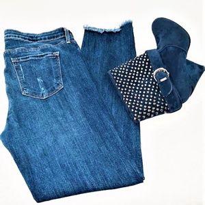 JUST BLACK Distressed Skinny Crop Jeans